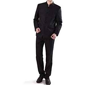 df555cfcf Chinese Tunic Suits Mandarin Collar Formal Black Suit Slim Fit Front Button  Japanese School Uniform Groom