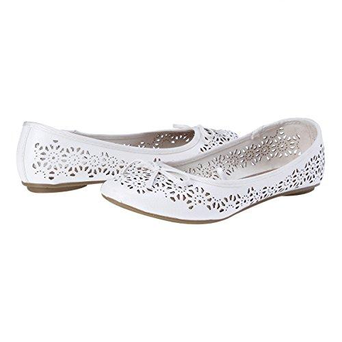 Con Mujer Para Damara Casual Blanco Bailarinas Zapatos Planos Hueco Diseño qCxI1BxwA
