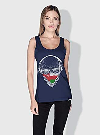 Creo Oman Skull Tanks Tops For Women - L, Blue