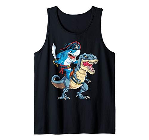 Shark Pirate Dinosaur T rex Funny Jawsome Men Women Gifts Tank Top