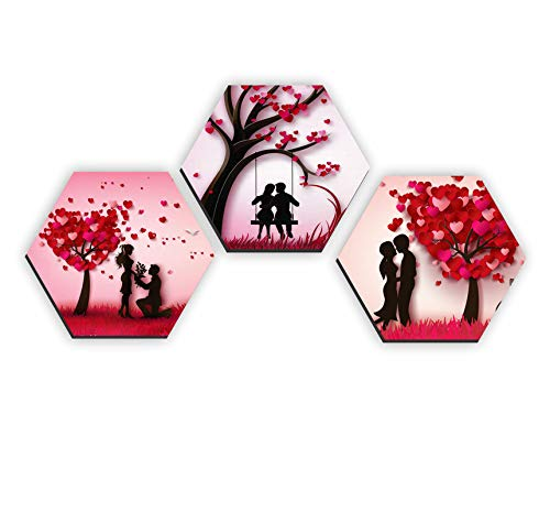 Set of 3 Hexagon Valentines Couple UV Textured Multi-Effect Painting