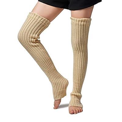 Leotruny Women's Winter Over Knee High Footless Socks Knit Leg Warmers (Beige): Clothing