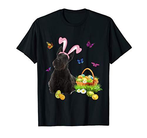 Scottish Terrier Bunny Hat Rabbit Easter Eggs T-Shirt