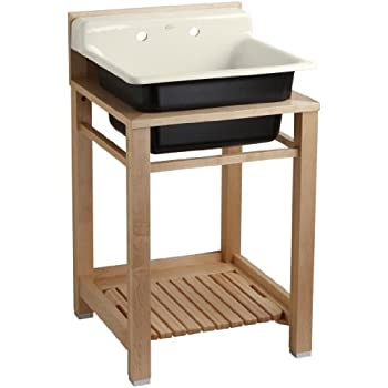 Kohler K 6608 2p 47 Bayview Wood Stand Utility Sink With