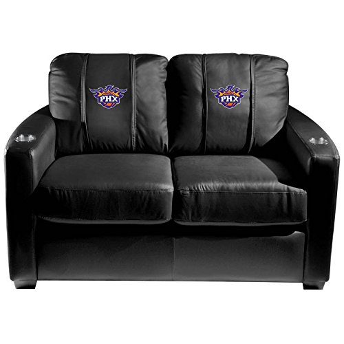 XZipit NBA Silver Loveseat with Phoenix Suns Secondary Logo Panel, Black