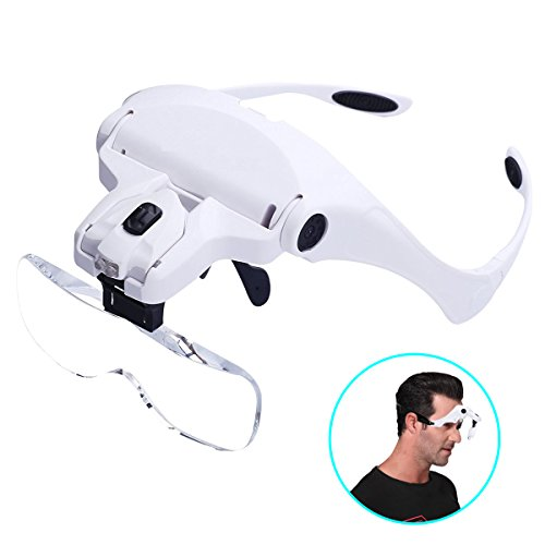 Head Mount Magnifier Glass, Chof Hand Free Magnifying Goggles with LED Head Light Bracket and Headband, 5 Interchangeable Lenses for Reading, Needlework, Crafts, Study Stamps (Headband) ()