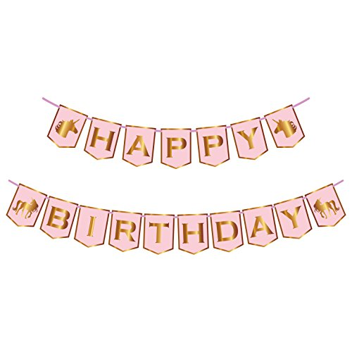 Unicorn Happy Birthday Banner | Pink And Gold | No Assembly Required | For Party Supplies | Party Favors And Magical Unicorn Decorations | Shiny Gold Foil Letters | For Girls Of All Ages | By John & J -