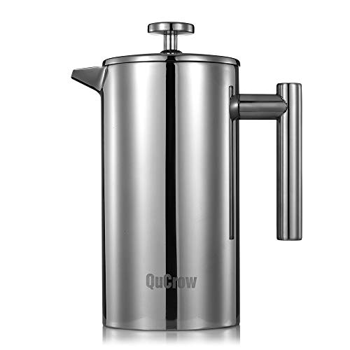QuCrow French Press Coffee Maker, 18/10 Stainless Steel Coffee Press, Double Wall Insulated French Press with 2pcs Bonus…