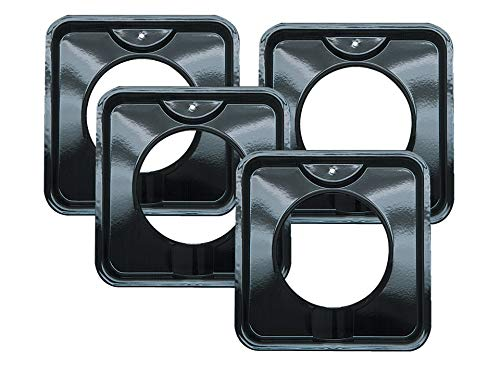 4 Pack | Style I 7.75 Inch Square, Heavy Duty Black Porcelain Drip Pans by Range Kleen (Gas Range Black)