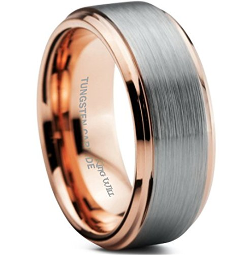 King Will 8mm Tungsten Carbide Wedding Band for Men Rose Gold Plated Beveled Polished Comfort Fit 12.5