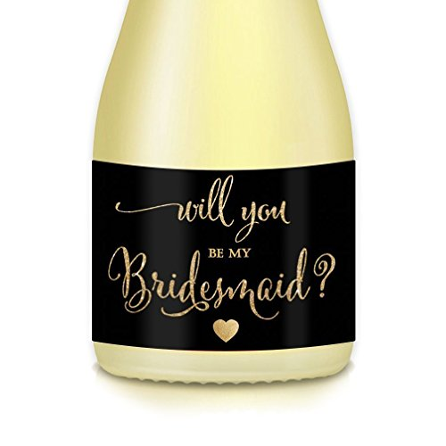 Will You Be My Bridesmaid? Set of 10 Mini Champagne Bottle Labels, Bridal Proposal Bride Ask Sister Best Friend Maid Matron of Honor Wedding Party, Gift Box Labels, Table Favors - Label Champagne Black