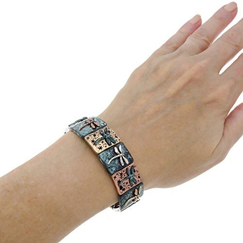 PammyJ Dragonfly Charms with Patina Finish Stretch Bracelet by PammyJ (Image #1)