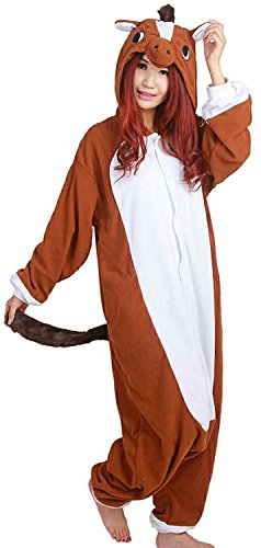 Cousinpjs Adult Cosplay Costume Animal Sleepwear Halloween Pajamas (Large, Brown Horse)]()