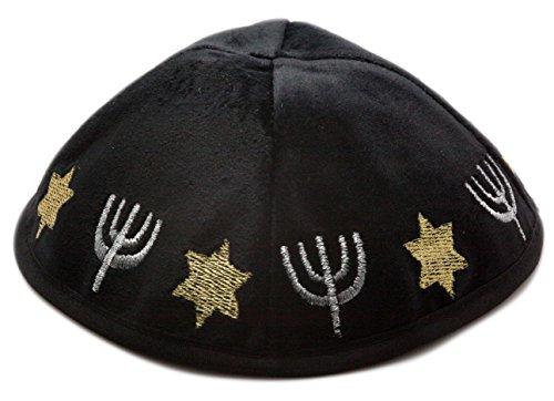 18CM 7Inch Kippah Yarmulke Jewish Israel Black Menora Judaica Yamaka Kippa Shabbat Kipa Hat Velvet Orthodox