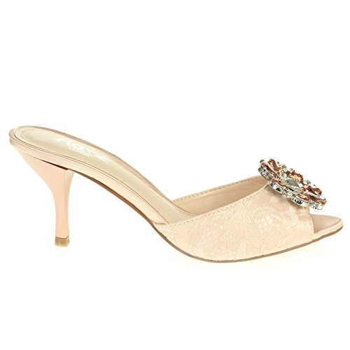 Heel LONDON Ladies Peeptoe AARZ Diamante Evening Size Shoes Party Wedding Prom Bridal High Pink Women Stiletto Crystal Sandal xfwwdq7A