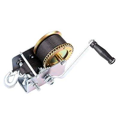 cciyu Hand Manual Winches,2500 LBs Heavy Duty Hand Crank Strap Gear Winch for ATV Jet Ski Trailer Boat