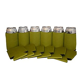 Premium Blank Can Coolers Sleeves Soft Drink Collapsible Insulator Coolers (12, Olive)