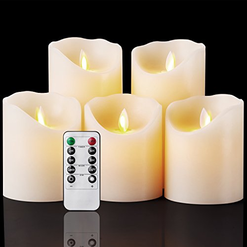 D Candles Realistic Moving Set of 5 Ivory Battery Candles Real Wax Pillar with 10-key Remote Control Timer- 2/4/6/8 Hours (Battery Flicker Candles)