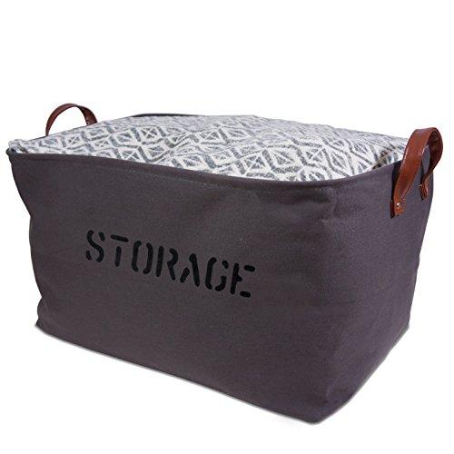"XXLARGE Gray Canvas Storage Basket 22""LX 13""H. Storage Bin is perfect for organizing the Nursery, Living room, Bedroom, Bathroom, Playroom"