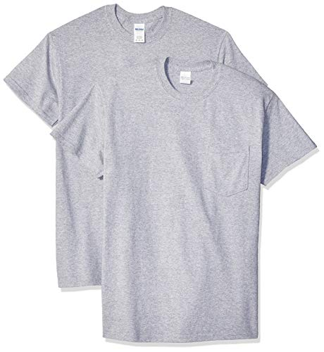 Gildan Men's Ultra Cotton Adult T-Shirt with Pocket, 2-Pack, Sport Grey, 2X-Large