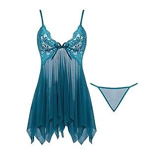 Joyaria Women's Sexy Lace Babydoll Sheer Mesh Lingerie Open Front Nighties Set (Peacock Blue,Medium)
