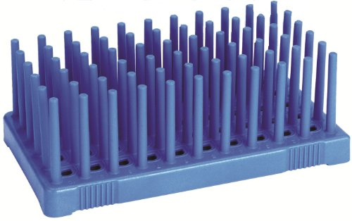 Heathrow Scientific HS24311B Peg Tube Rack, 50 Wells, Polypr