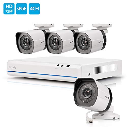Zmodo sPoE Surveillance Camera System, 4 Channel HD NVR, 4Weatherproof HD Security Cameras W/Night Vision, Remote Monitoring, Motion Detection, iOS, Android App Available