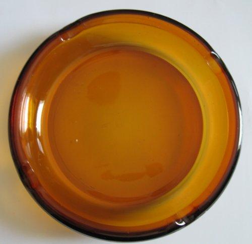 Vintage Amber Glass Ashtray -
