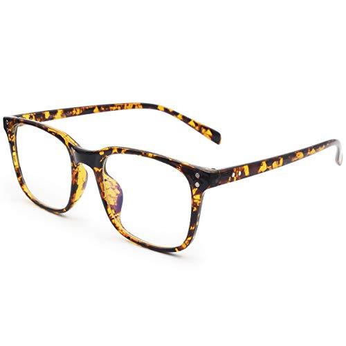 Livho Blue Light Blocking Glasses Filter Blue Ray Computer Game Glasses for Women Men Square Eyeglasses TR90 Frame [Anti Eyestrain, Reduce Headache & Better Sleep] (Bean Flower) - 0.0 Magnification (Glass Flower Blue)