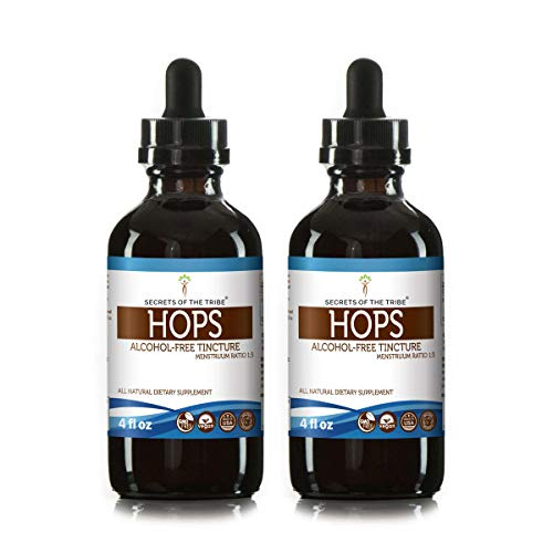 Hops Alcohol-Free Liquid Extract, Organic Hops Humulus Lupulus Dried Flower Tincture Supplement 2×4 FL OZ