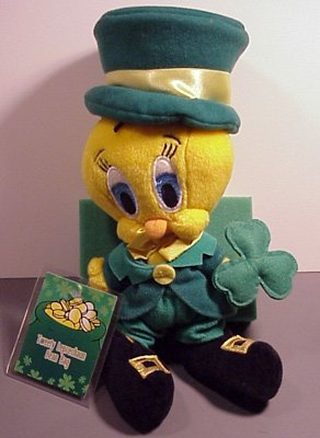 Warner Brothers Bean Bag Plush Tweety Bird Leprechaun