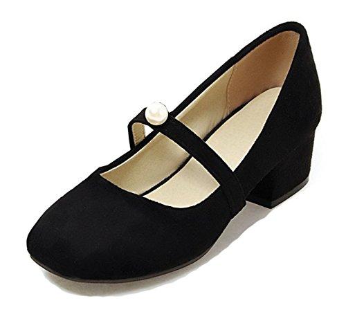 Aisun Women's Vintage Low Cut Square Toe Dress Slip On Block Medium Heels Mary-Jane Pumps Shoes (Black, 6 B(M) US)