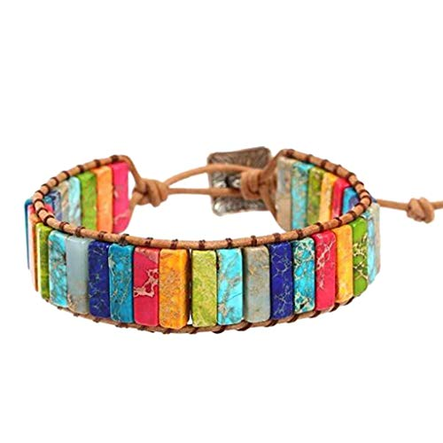 (Bead Bracelet, Handmade Imperial Jasper Wrap Bangles Leather Chakra Adjustable Bohemian Bracelet Jewelry for Women Sister Mother's Day/Anniversary/Birthday Girl Gift (Multicolor))