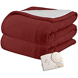 Pure Warmth by Biddeford MicroPlush Sherpa Electric Heated Blanket Twin Claret