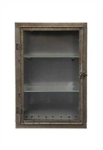 Amazon Distressed Gun Metal Grey Wall Cabinet With Glass Door