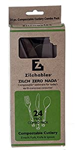 Zilchables Compostable Combo Packed Fork/Knife/Spoon, Brown (480-Count)