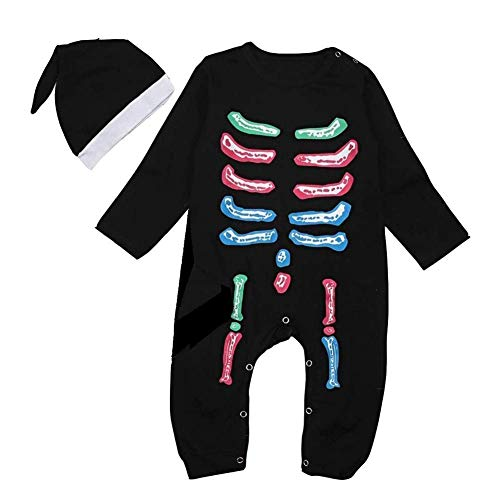 MILWAY Infant Baby Boy Girl Halloween Bodysuit Skeleton Long Romper + Baby Cap Outfit Set (60/0-6 Months, ()