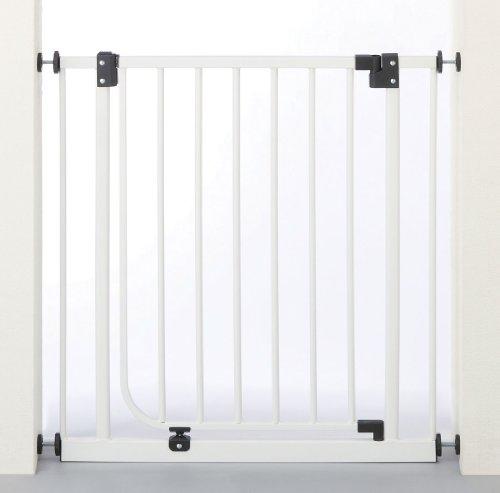 日本育児 ベビーズゲート ホワイト 取り付け幅73~90cm×奥行2.5×高さ76.5cm  5994006001 6ヶ月~24ヶ月対象 扉開閉式突っ張りゲイト