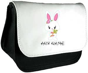 Conejo de cuatro con nombre Cute personalizado bolsa de embrague de Pascua o estuche conejo cuatro con nombre Cute personalizado bolsa de embrague de Pascua o estuche bolsa o estuche, color negro