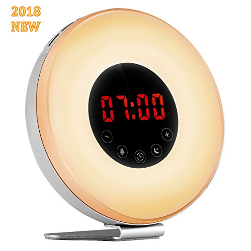 Wake-up Light Alarm Clock, Sunrise Sunset Simulator Digital Electronic Clocks with Radio [2018 Newest] USB Charger 7 Colors 6 Nature Sounds Night Light, Hotweild
