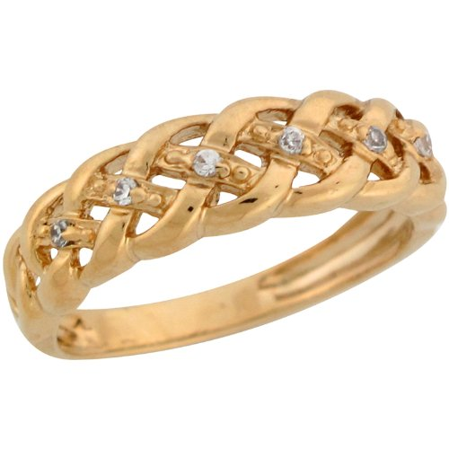 9ct Yellow Gold Round Cut Diamond Woven Band Design La s