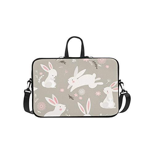 Easter Design Bunnies Briefcase Laptop Bag Messenger Shoulder Work Bag Crossbody Handbag for Business Travelling