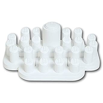 RING DISPLAY WHITE LEATHER JEWELRY STAND  23 RINGS