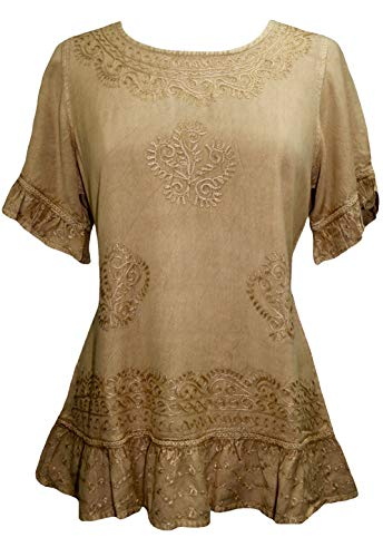 Hippie Lace Tunic - Agan Traders 142 B Peasant Ari Blouse Top (XL/1X, Camel)