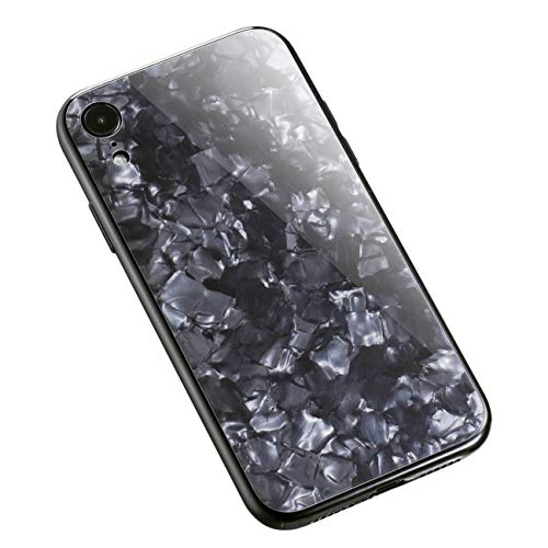 (Crosspace iPhone XR Case, Marble Ultra-Thin Slim Hard PC Glass Shell Pattern Solf TPU Bumper Bling Protective Cover Glitter Seashell Pattern Cover for iPhone XR 6.1