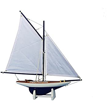 "Hampton Nautical  America's Cup Contender Model Yacht Dark Blue 18"" - White Sails - Model Ship - Nautical Home Toy Figure"