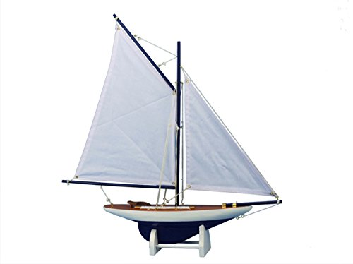 White Model Sailboat - Hampton Nautical  America's Cup Contender Model Yacht Dark Blue 18