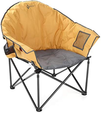 ARROWHEAD OUTDOOR Oversized Heavy-Duty Club Folding Camping Chair w External Pocket, Cup Holder, Portable, Padded, Moon, Round, Saucer, Supports 330lbs, Carrying Bag, USA-Based Support