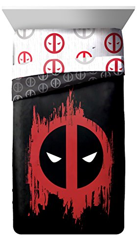 - Marvel Deadpool Invasion Twin/Full Comforter - Super Soft Kids Reversible Bedding features Deadpool - Fade Resistant Polyester Microfiber Fill (Official Marvel Product)
