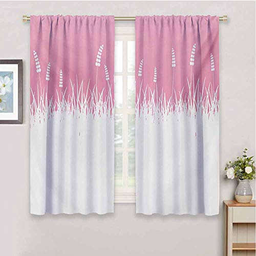 Gloria Johnson Pinkcurtains for bedrooField Farm Life Inspired Scene Cut into Half with Bushes and Wheat Art Printsoundproof curtainHot Pink and White72 x 45 inch